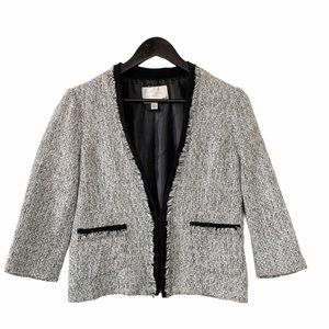 Dynamite Black & White Tweed Fringe Blazer